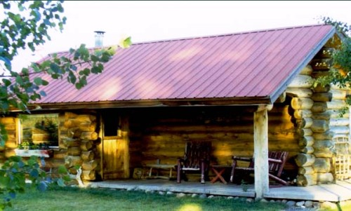 Corrugated metal roofing on a cabin.