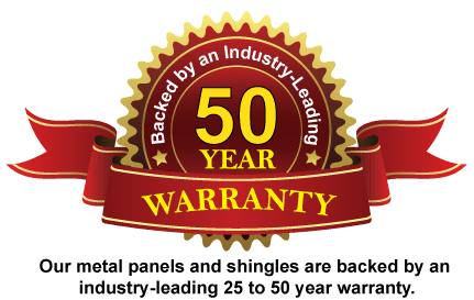 Metal roof panel warranties of 20-50 years