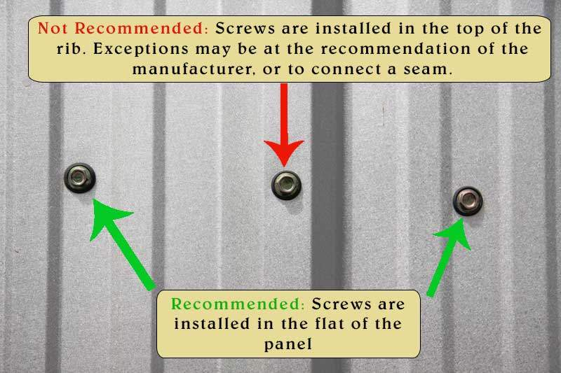Metal Roofing Screw Placement
