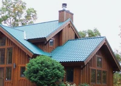 Green Tile on Wood Exterior