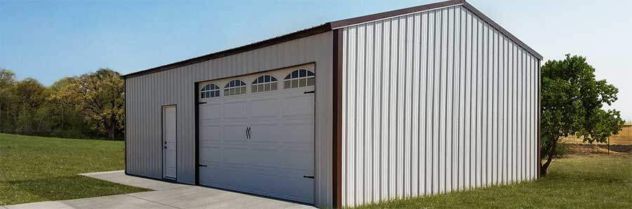 Metal building with siding