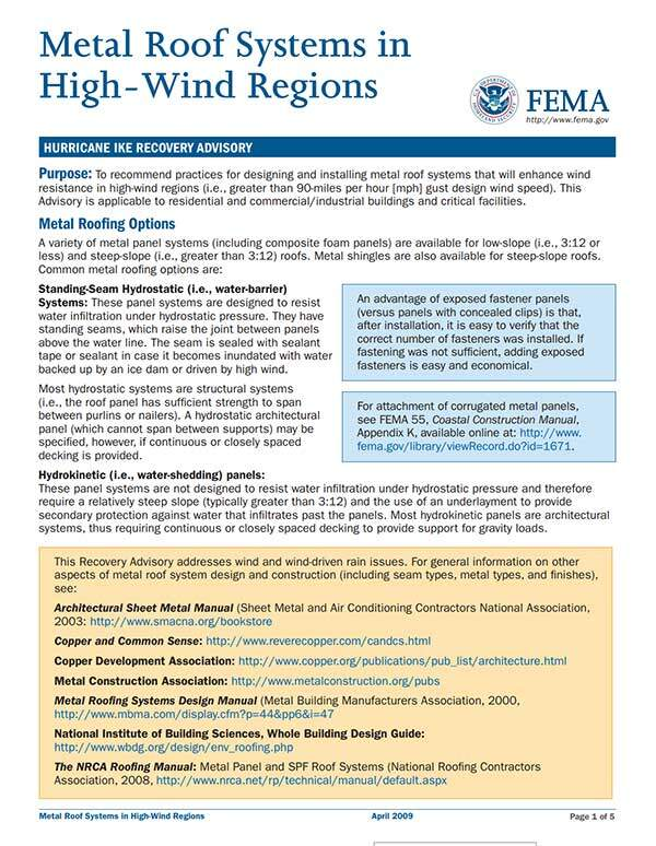 FEMA - Metal Roof Systems in High Wind Regions